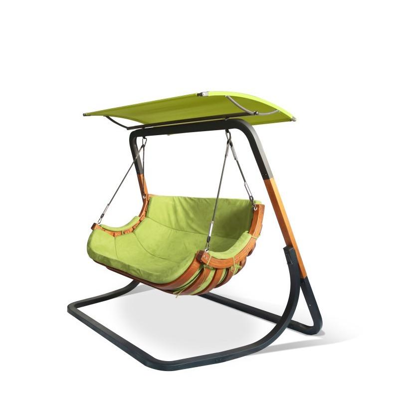 Podwójny Fotel Alpha z Daszkiem Zielony - bujak ogrodowy