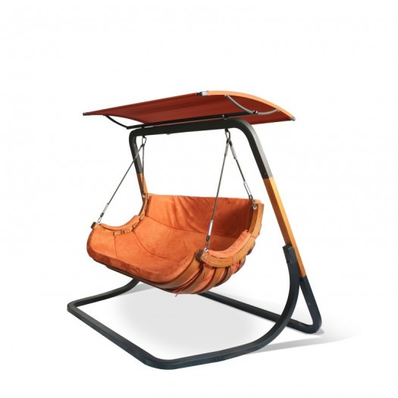 Podwojny Fotel Alpha z Daszkiem Terracota - bujak ogrodowy