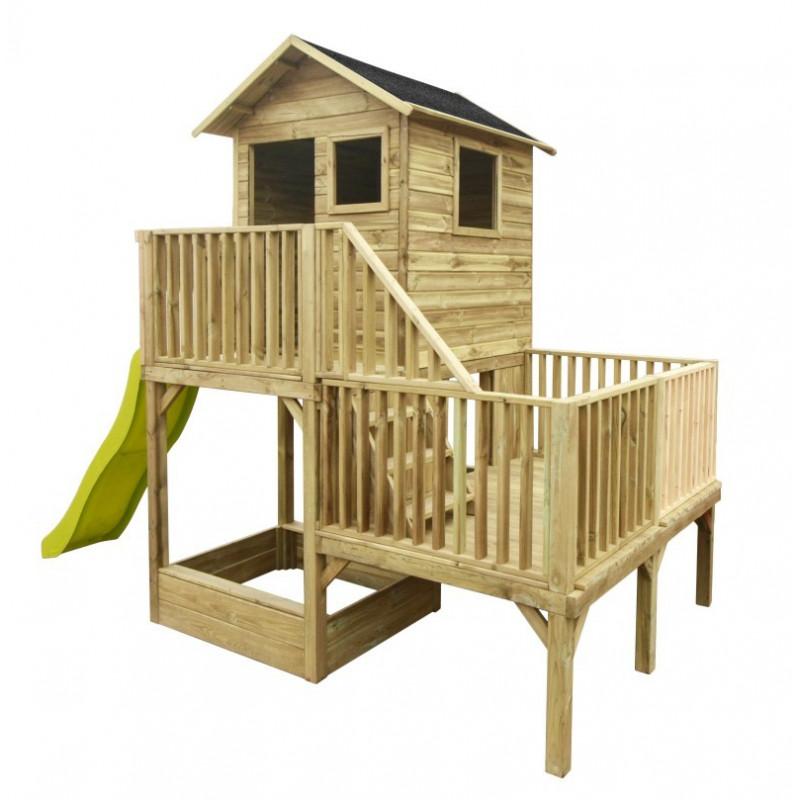 Drewniany domek ogrodowy dla dzieci - Hubert z długim ślizgiem