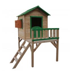 Malowany domek ogrodowy z drewna surowego dla dzieci - Tosia