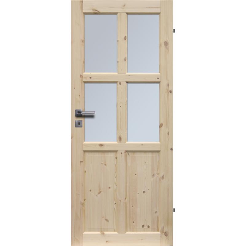 """Drzwi sosnowe, seczne - """"Bergen"""" wersja 4S- Seria Classic - Drzwi wewnetrzne drewniane """"RADEX"""""""