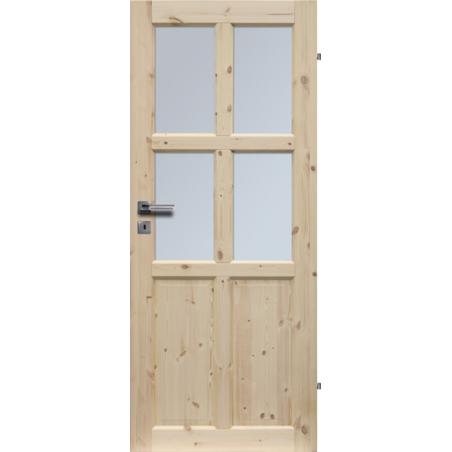 """Drzwi sosnowe, sęczne - Bergen wersja 4S - Seria Classic - Drzwi wewnętrzne drewniane """"RADEX"""""""