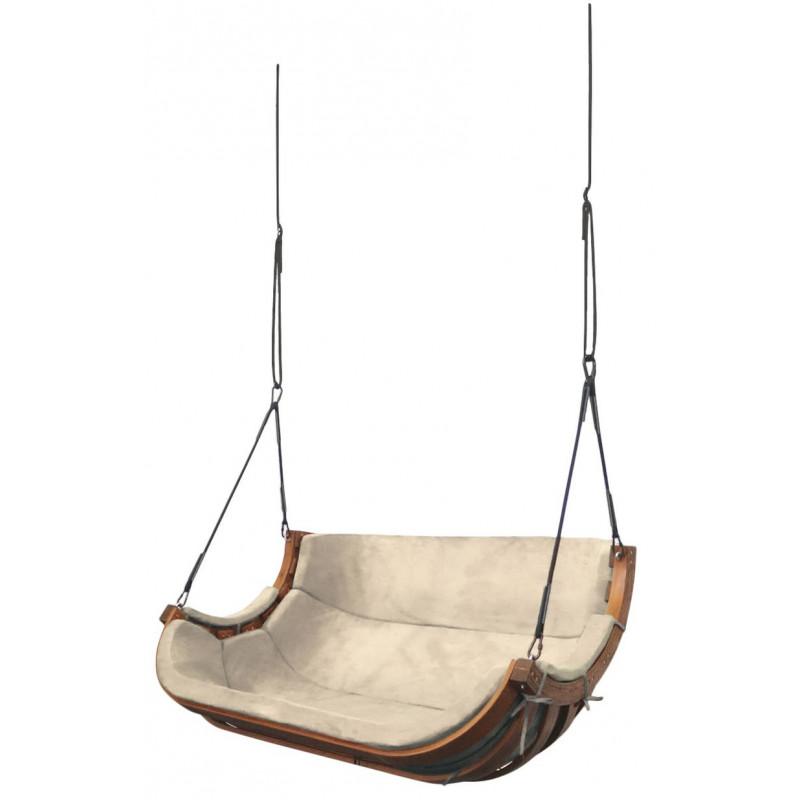 Podwójny Fotel Alpha Podwieszany Beż Słomkowy - bujak ogrodowy