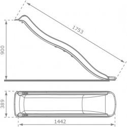 Ślizg Zjeżdżalnia długość ok. 1,8M Kolor CZERWONY