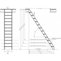 """Drewniane schody młynarskie proste - """"Kopenhaga 745"""""""