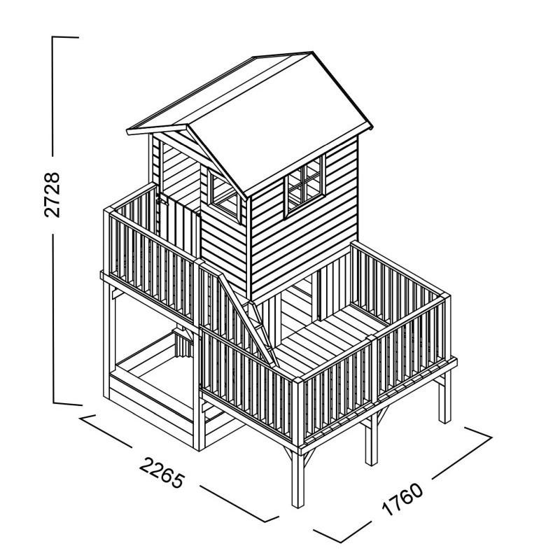 Drewniany domek ogrodowy dla dzieci - Hubert z dwoma śligami