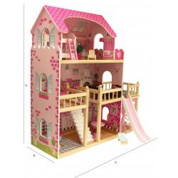 Domek z Drewna dla lalek INGA Taras z BASENEM + MEBELKI