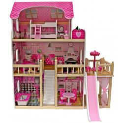 Drewniany Domek dla Lalek LARYSA Umeblowany 3 Piętrowy DWA TARASY