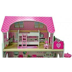 LARYSA - drewniany domek dla lalek ze zjeżdżalnią