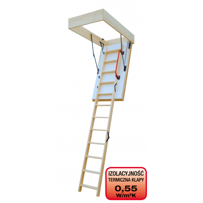 Drewniane schody strychowe EXTREME 112x70 promien otwarcia