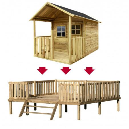 Drewniany Domek Ogrodowy Dla Dzieci Blanka na Platformie Scenie